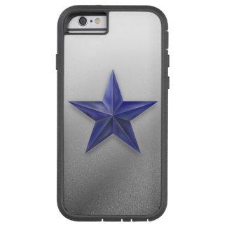 Capa Tough Xtreme Para iPhone 6 Estrela azul escovada na textura salpicada branca