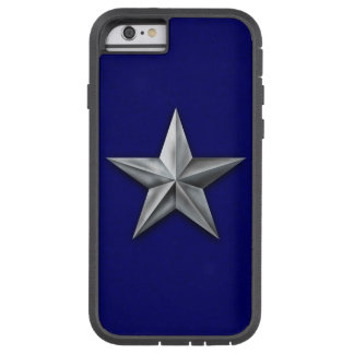 Capa Tough Xtreme Para iPhone 6 Estrela de prata escovada do tom na textura azul