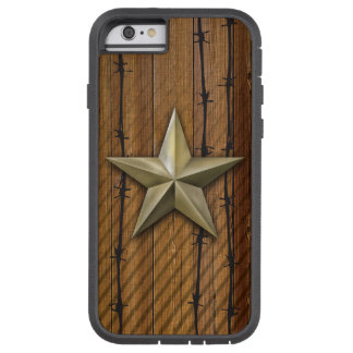 Capa Tough Xtreme Para iPhone 6 Estrela goldtone escovada na prancha de madeira