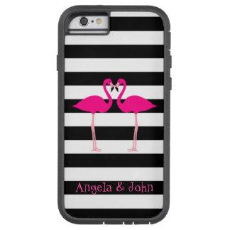 Capa Tough Xtreme Para iPhone 6 Flamingos cor-de-rosa, preto, listras brancas