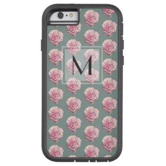 Capa Tough Xtreme Para iPhone 6 Ilustração Monogrammed da aguarela do rosa do rosa