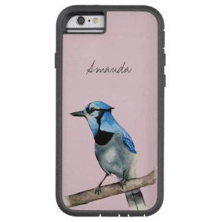 Capa Tough Xtreme Para iPhone 6 Jay azul na pintura da aguarela do ramo