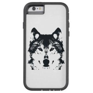 Capa Tough Xtreme Para iPhone 6 Lobo preto da ilustração