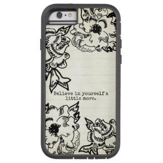 Capa Tough Xtreme Para iPhone 6 Mão preta manchada floral do esboço das flores