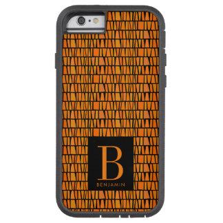 Capa Tough Xtreme Para iPhone 6 Monograma alaranjado inspirado africano do teste