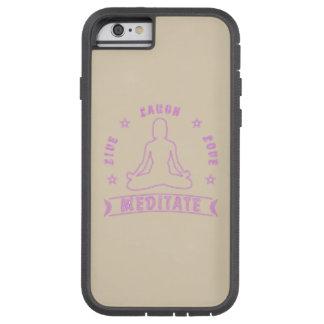 Capa Tough Xtreme Para iPhone 6 O amor vivo do riso Meditate texto fêmea (o néon)