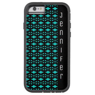 Capa Tough Xtreme Para iPhone 6 Preto e nome geométrico azul do teste padrão do
