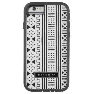 Capa Tough Xtreme Para iPhone 6 Preto | MudCloth branco inspirado