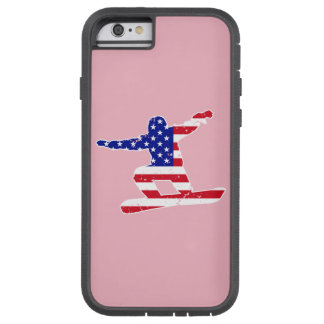 Capa Tough Xtreme Para iPhone 6 Stars o SNOWBOARDER das listras do ` n' (branco)