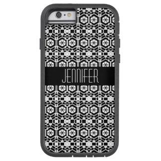 Capa Tough Xtreme Para iPhone 6 Teste padrão abstrato preto e branco do hexágono