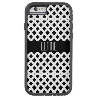 Capa Tough Xtreme Para iPhone 6 Teste padrão preto e branco do diamante