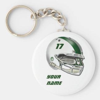 Capacete de futebol branco e verde escuro chaveiros