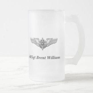 Capacete de Viking & Wings-Personalized. Caneca De Cerveja Vidro Jateado