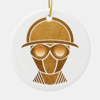 Capacete & máscara de Steampunk Ornamento De Cerâmica Redondo
