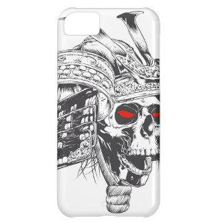 capacete preto e branco do samurai com crânio capa para iPhone 5C