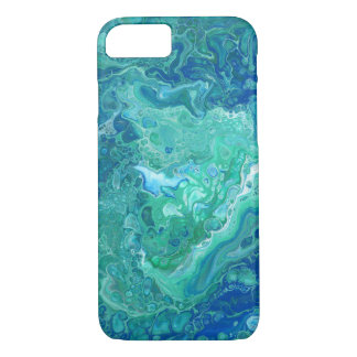 Capas de iphone abstratas do azul & do verde -