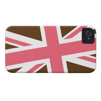 Capas de iphone da bandeira de união (Brown/rosa) Capas Para iPhone 4 Case-Mate