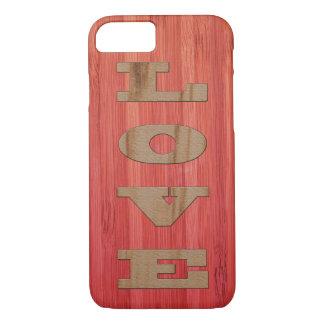 Capas de iphone da textura do AMOR da madeira & do