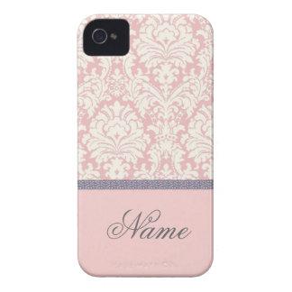 Capas de iphone do damasco de Pink&White com nome