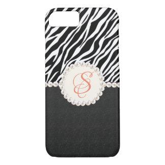 Capas de iphone do impressão da zebra do monograma