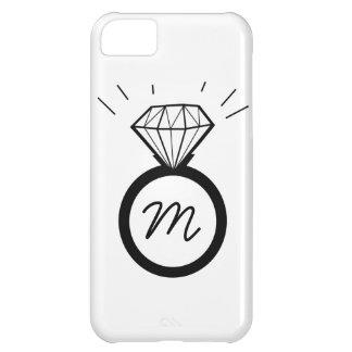 Capas de iphone do monograma do anel de noivado do