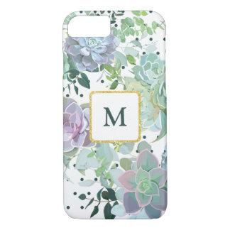 Capas de iphone do monograma do Succulent