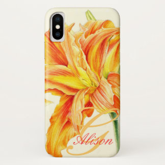 Capas de iphone florais do hemerocallis alaranjado