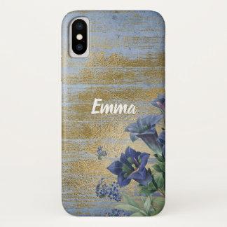 Capas de iphone florais do ouro azul do chique