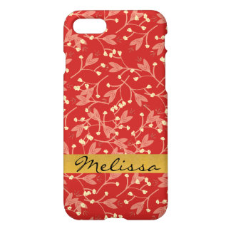 Capas de iphone lustrosas florais vermelhas do