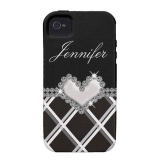 Capas de iphone preto e branco do coração da jóia capinhas para iPhone 4/4S