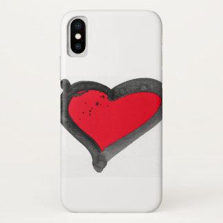 Capas de iphone vermelhas do coração da escova