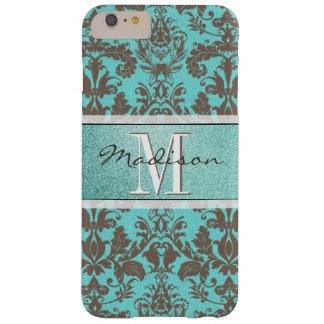 Capas iPhone 6 Plus Barely There Azul de turquesa da cerceta & damasco de Brown,