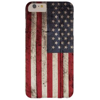 Capas iPhone 6 Plus Barely There Bandeira americana na grão de madeira velha