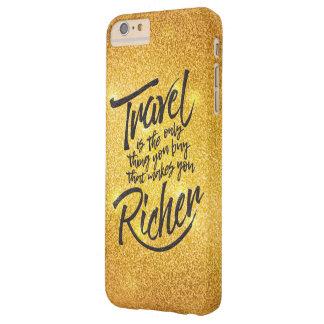 Capas iPhone 6 Plus Barely There Citações de viagem - design do brilho do ouro