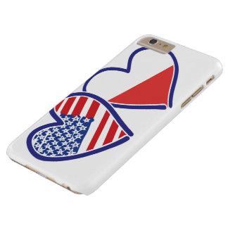 Capas iPhone 6 Plus Barely There Corações da bandeira do Polônia dos EUA
