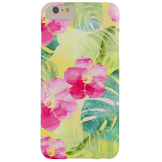 Capas iPhone 6 Plus Barely There Folhas de palmeira e flores tropicais do hibiscus