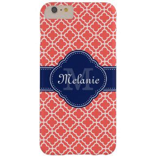 Capas iPhone 6 Plus Barely There Monograma marroquino branco cor-de-rosa coral do