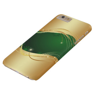 Capas iPhone 6 Plus Barely There Motriz dourado do Natal com fundo verde…