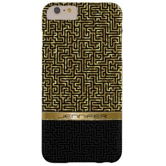 Capas iPhone 6 Plus Barely There Preto & teste padrão geométrico do ouro
