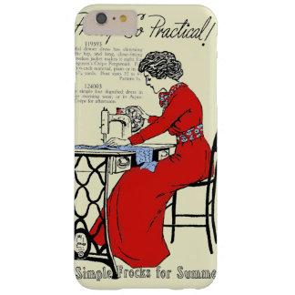 Capas iPhone 6 Plus Barely There Senhora no vestido vermelho na máquina de costura