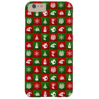 Capas iPhone 6 Plus Barely There Teste padrão do ano novo. Vermelho, verde, branco.