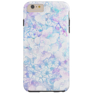 Capas iPhone 6 Plus Tough A aguarela azul e roxa floresce floral