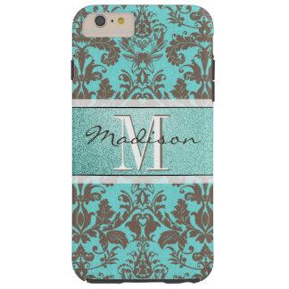 Capas iPhone 6 Plus Tough Azul de turquesa da cerceta & damasco de Brown,
