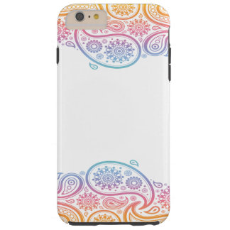 Capas iPhone 6 Plus Tough Caso do telemóvel de Paisley do arco-íris para o