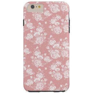 Capas iPhone 6 Plus Tough Cora floral elegante do vintage branco coral do