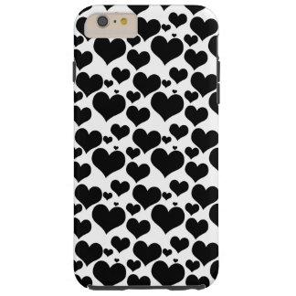 Capas iPhone 6 Plus Tough Corações pretos bonito no branco para seus