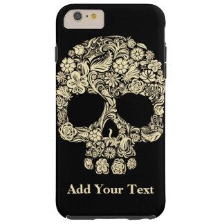 Capas iPhone 6 Plus Tough Crânio floral preto e branco do açúcar do