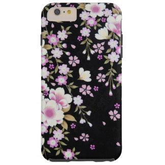 Capas iPhone 6 Plus Tough Falln que conecta flores cor-de-rosa