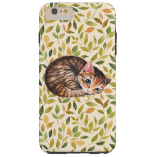 Capas iPhone 6 Plus Tough Gato sonolento, fundo floral