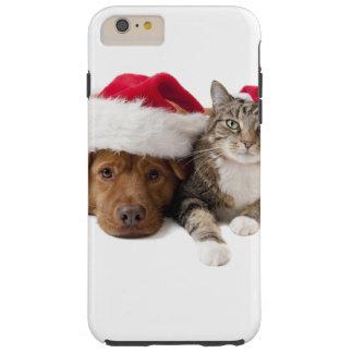 Capas iPhone 6 Plus Tough Gatos e cães - gato do Natal - cão do Natal